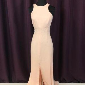 Vera Wang Long Halter Dress With Skirt Slit